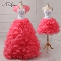 Vestidos de quinceanera vestidos destacável saia de organza com jacket plissado sweet 16 vestido para a festa de debutante pageant girl vestidos