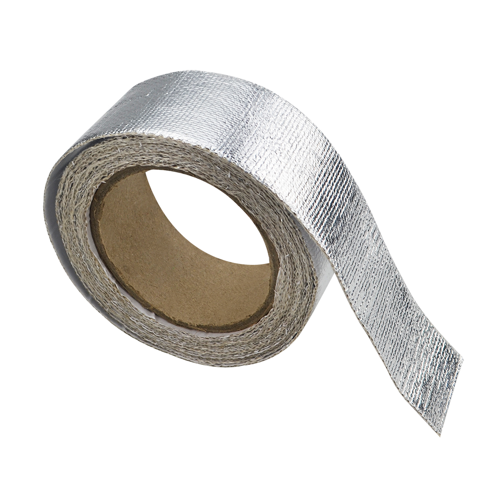 LZONE RACING - Car Aluminum Reinforced Tape Adhesive Backed Heat Shield Resistant Wrap For Intake pipe WITH 4PCS TIES JR1612