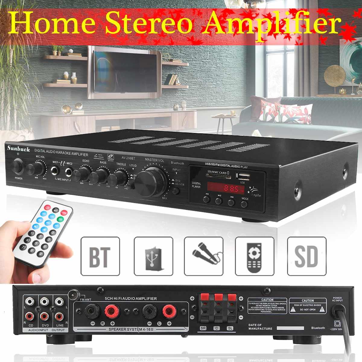 5 Channel Bluetooth HiFi Stereo Amplifier LED Digital Karaoke Home Cinema Home Theater Amplifiers Home Amplifiers