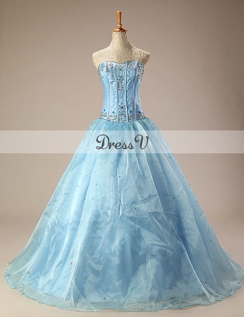 In stock Sky Blue Ball Gown Quinceanera Dresses Sweetheart ...