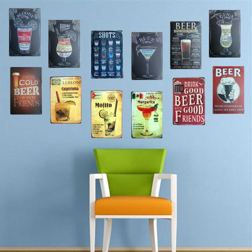 [ Mike86 ] Cocktail Beer World Metal Plaque decor Home Party Wall Sign Painting Bar Pub Decoration 20*30 CM AA-949B