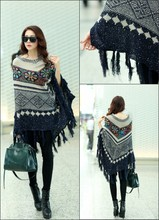 цена на 2018 Lady Knitted Colorful Striped Poncho Plus Size Winter Shawl Fashion Hollow Tassel Sweater Batwing Sleeve Long Pullovers