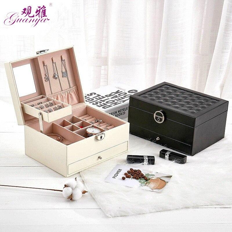 De diseño de moda de joyería de cuero caja de joyería Paquete de almacenamiento de gran espacio anillo de joyería de collar de pulsera de Venta caliente