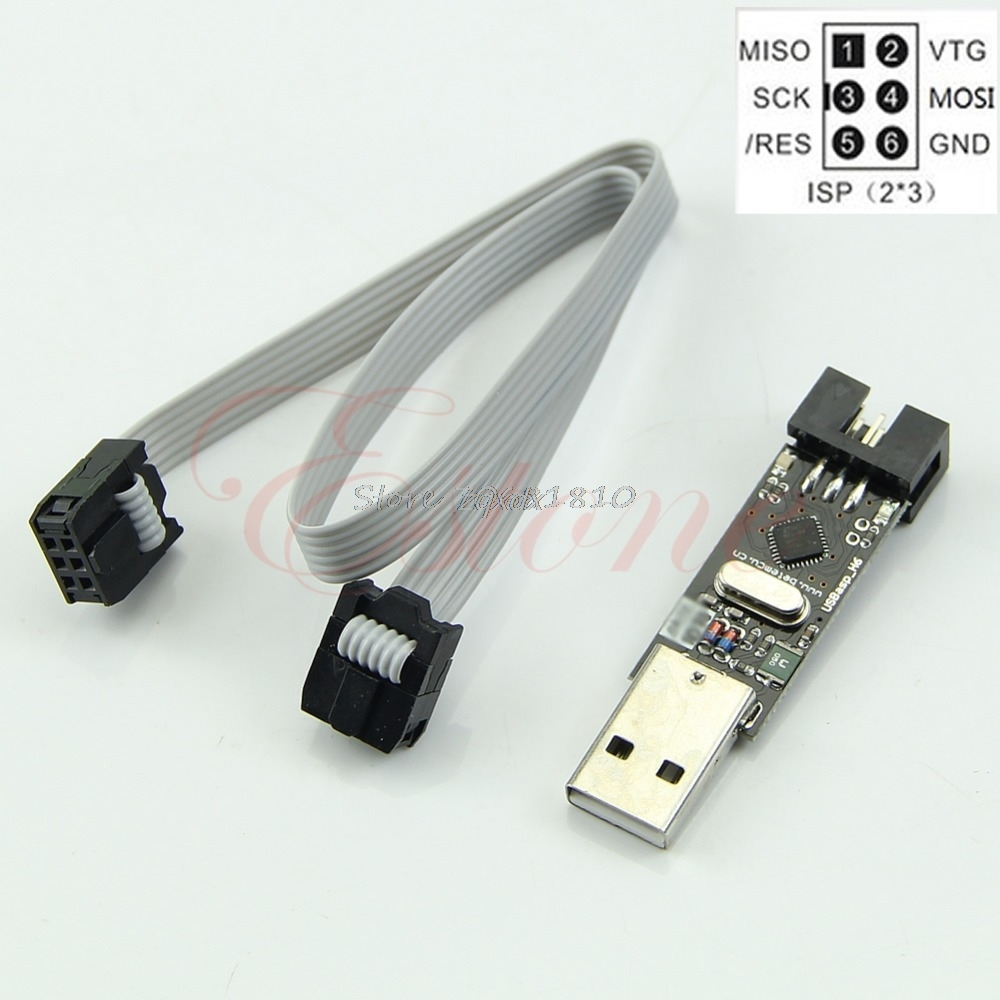USB ISP 5V USBasp AVR Programmer ATMEGA8 ATMEGA128+6PIN Wire Support For Win7 Whosale&Dropship