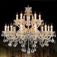 Big Duplex house Luxury champagne chandelier crystal fixtures antique living room Hotel villa white candle Led chandelier lustre