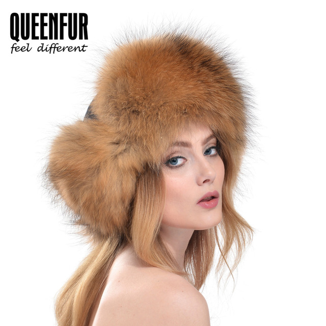 QUEENFUR Winter Warm Real Fox Fur Pompom Top Hat Laminated Cotton Raccoon Fur Hat 2016 New Ear Protector Women Bomber Hats