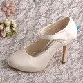 Wedopus MW304 Personalizado Handmade Cetim Creme Mary Jane Sapatos De Noiva Casamento Plataforma
