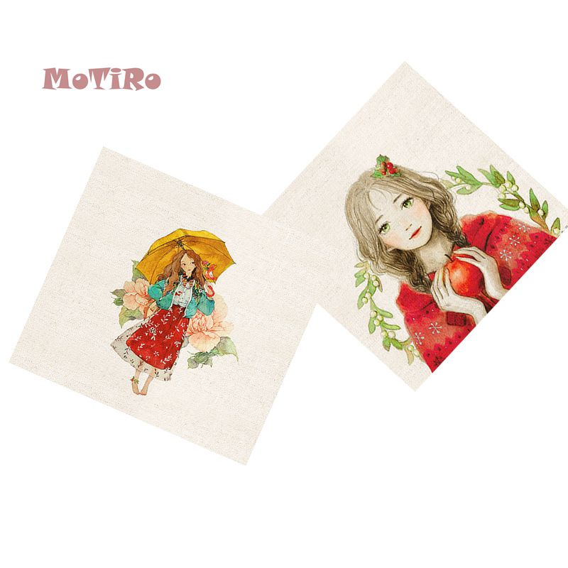 Adaptable Motiro,2pcs/lot,cotton Linen Fabric,girl Pattern,plain Hand Dyed Cloth Of Diy/table Mat/mouse Pad/apron Pocket/pillow Decoration Highly Polished Home & Garden Fabric
