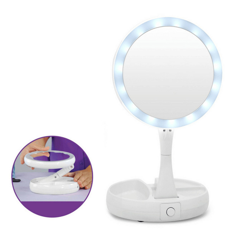 New My Fold Away LED Makeup Mirror Double-sided Rotation Folding USB Lighted Vanity Mirror Touch Screen Portable Tabletop Lamp shipton v take away my takeaway new orleans level b1 dvd