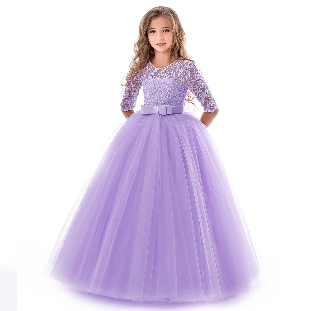 HTB13FkTd3aH3KVjSZFjq6AFWpXaH New Princess Lace Dress Kids Flower Embroidery Dress For Girls Vintage Children Dresses For Wedding Party Formal Ball Gown 14T