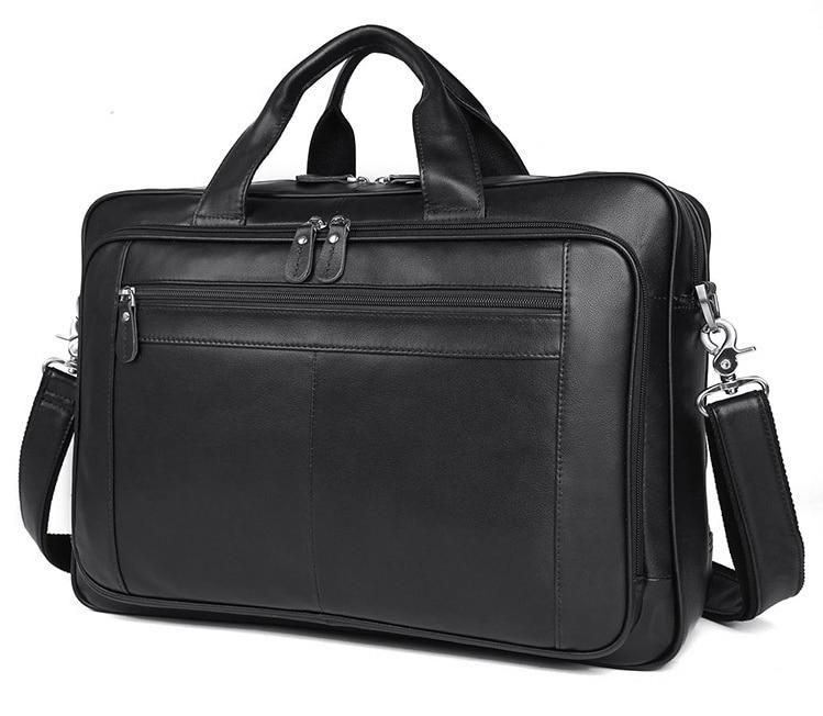 Luufan man briefcase fashion genuine cow leather business handbag fit 17 inch laptop bag tote big