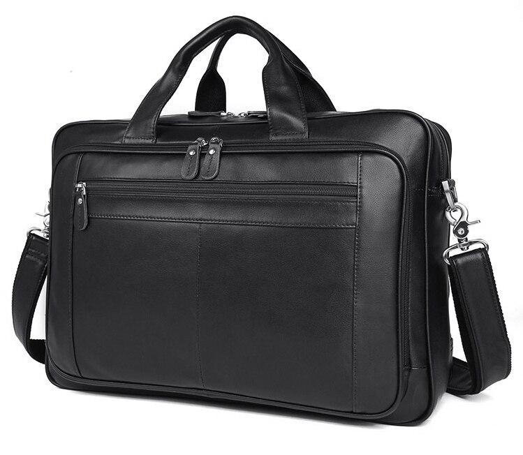 Luufan Man Briefcase Fashion Genuine Cow Leather Business Handbag Fit 17 Inch Laptop Bag Tote Big Shoulder Bag Man Black
