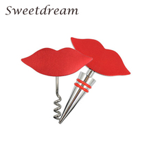 Wine Stopper Beer opener Red Lip Shape Bottle 2 pcs /lot  Stainless Steel Beard Corkscrew