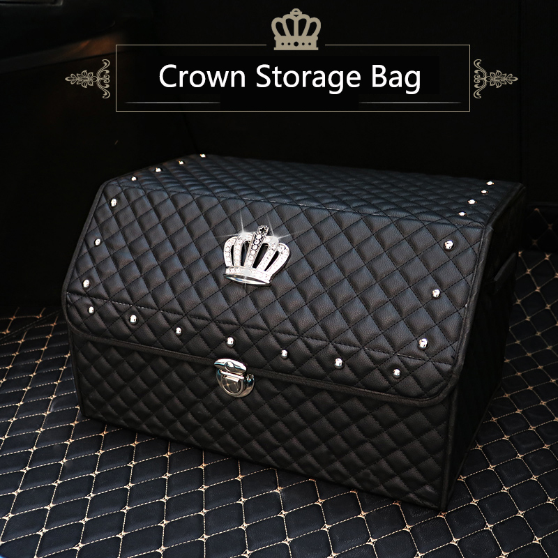 Car Trunk Organizer Stowing Tidying Auto Storage Box Crystal Crown Women Car Trunk Bag Interior Accessories aumohall car multi pocket organizer large capacity folding storage bag trunk stowing and tidying