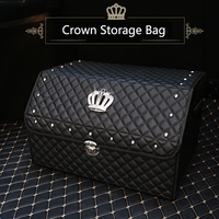 Car Trunk Organizer Stowing Tidying Auto Storage Box Crystal Crown Women Car Trunk Bag Interior Accessories