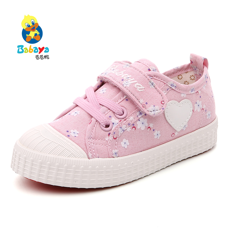 Babaya Children canvas shoes girls casual fashion sneakers Flat Loafer driver Love heart floral print light Toddler shoes 24-38