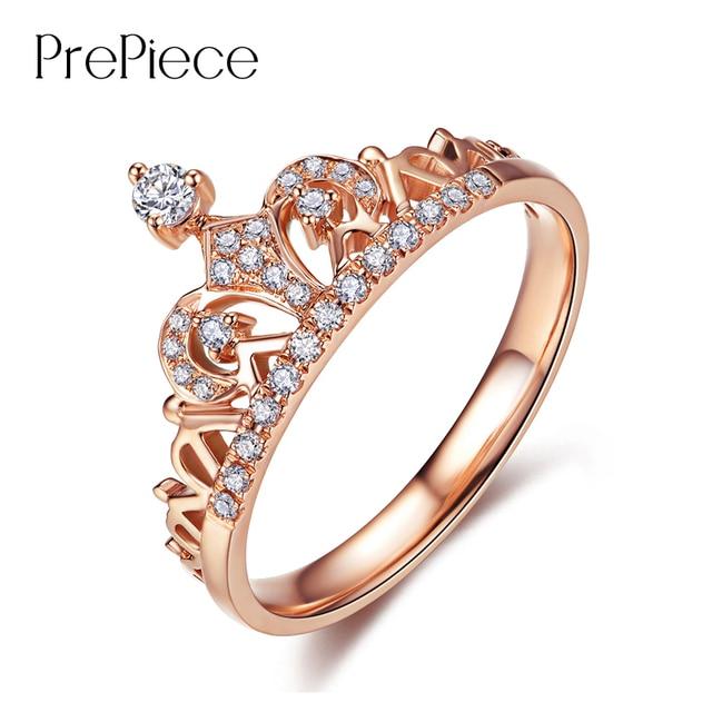 PrePiece Merk Ontwerp Top CZ Kroon Ringen Voor Vrouwen Sieraden Rose Goud Kleur Verlovingsring Bague Femme Hot Gift Anel PUR0217