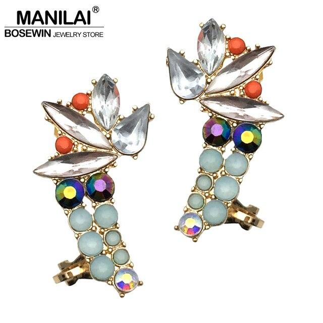 15304196dd66a Aliexpress.com : Buy MANILAI Trendy Luxury Multicolor Resin Stud Earrings  For Women Bohemian Big Crystal Cuff Earrings Statement Jewelry Accessories  ...