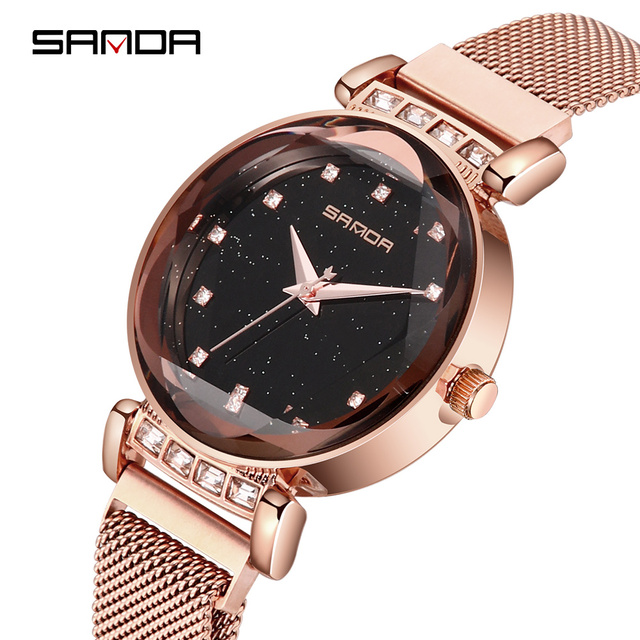 SANDAP248 Free Shipping Clock Woman Top Brand Luxury Rose Gold Diamond Stainless