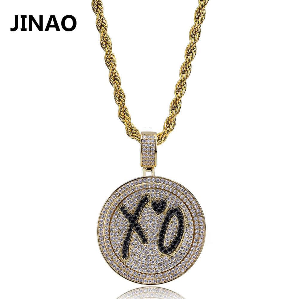 JINAO Copper Cubic Zircon Hip Hop Jewelry XO Pendant Necklace Stainless Steel Chain Iced Out Chain Rotatable Spinner Pendants