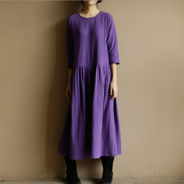 2019 Spring Autumn women O neck long sleeve cotton linen dress,Comfortable vintage dress with pockets,plus size dress S 5XL 6XL
