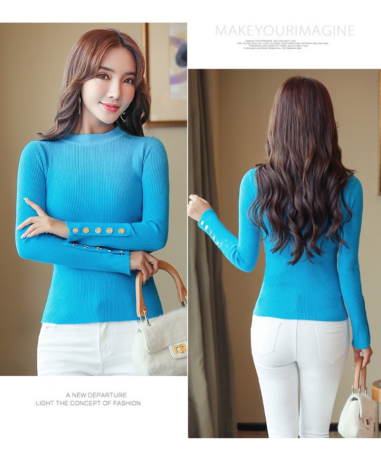 Fashion 19 New Spring Autumn Women Sweater Knitted Long Sleeve O-Neck Sexy Slim Office Lady Button Casual Sweaters Tops 23