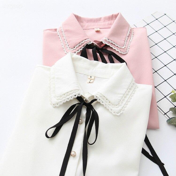 Japanese School Uniform Mori Girls Summer Japanese Style Short Sleeve Turndown Collar Blue White Pink Striped Bowknot Blouse Women's Clothing