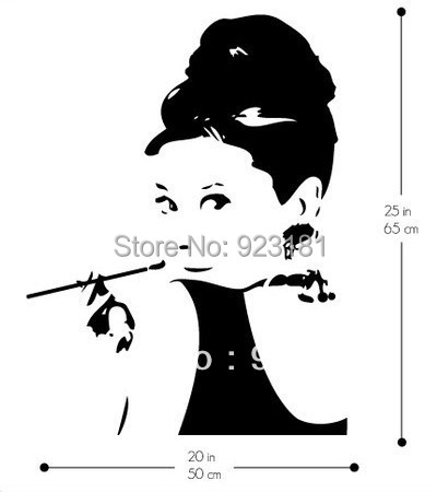 Sexy Woman AUDREY HEPBURN Wall Art Stickers Decals Home DIY Decoration Wall  Mural Removable Bedroom Decor Part 79