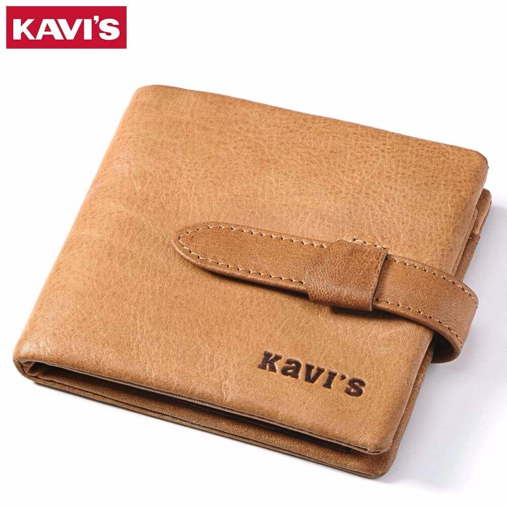 KAVIS Genuine Leather Wallet Men Male Cuzdan Portomonee Rfid Mini Small Card Slim Walet PORTFOLIO Coin Purse Fashion Man Pocket