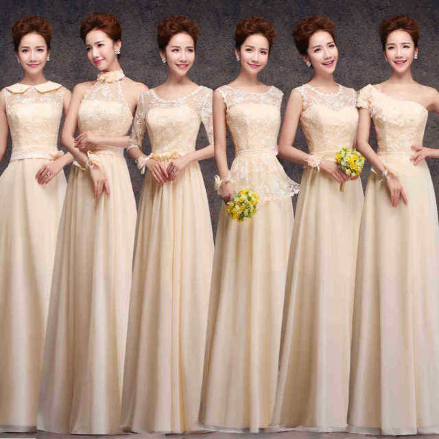 3689f373a V-neck One Shoulder Lace Champagne Beige Light Blue Purple Long  Floor-Length Bridesmaid Dresses