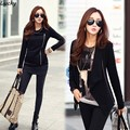 2015 Women Jacket Ladies Asymmetric Neck Long Sleeve Pure Color Cotton Blend Zipper Casual Loose Coat Black, Gray M-L 30
