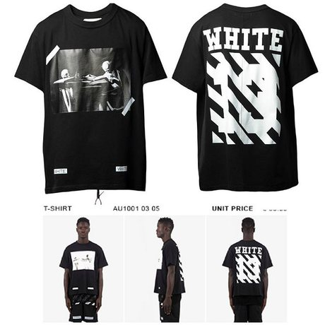 a03273b7ed51 EXO Luhan Kris off white airport fashion stripe print tee casual  personalized short-sleeve T-shirt shirt
