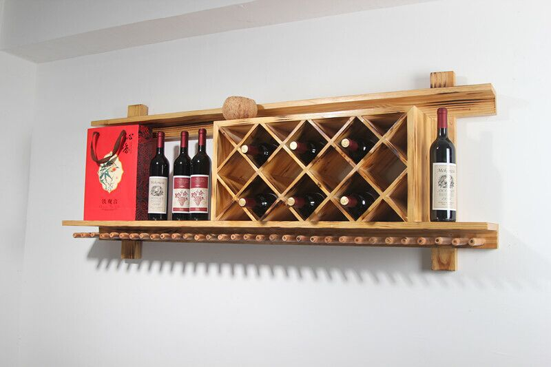 Wall mounted wood wine rack hanging bar wine rack creative Hanging wooden wine rack