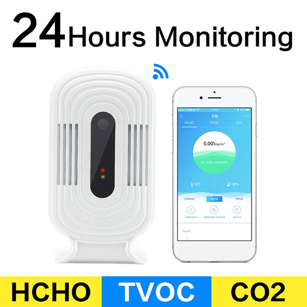 JQ200-6 Smart WiFi CO2 HCHO TVOC PM2.5 Meter Air Quality Analysis Tester Sensor Detector Sensor Temperature Humidity Monito