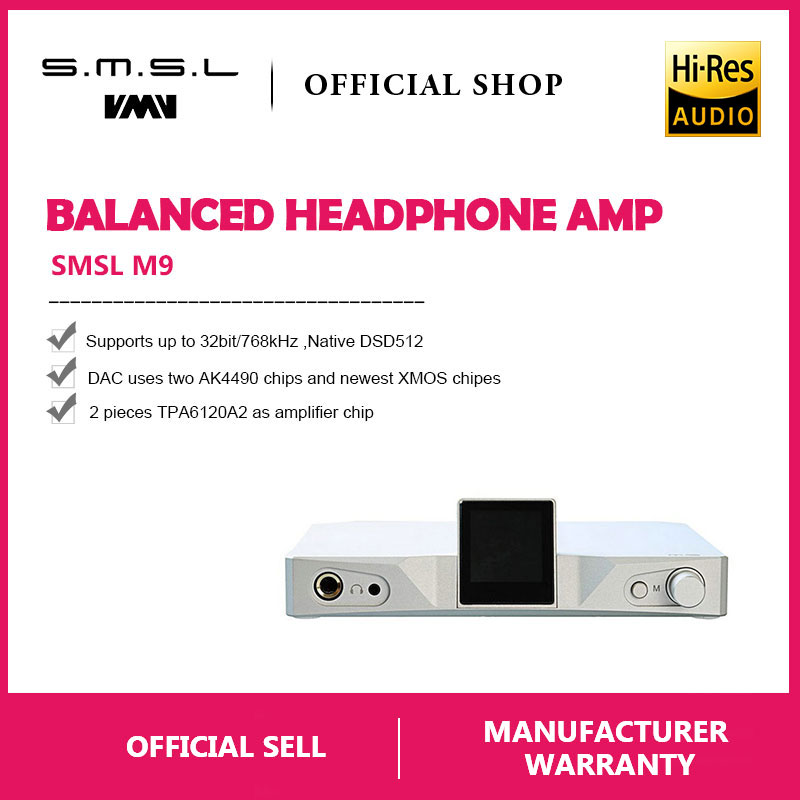 Tragbares Audio & Video Digital-analog-wandler Smsl M9 Ak4490x2 Hallo-fi Audio Dac Digital Ausgewogene Kopfhörer Verstärker Mit Optical Coaxial Usb-eingang 32bit/768 Khz Dsd512 Xmos
