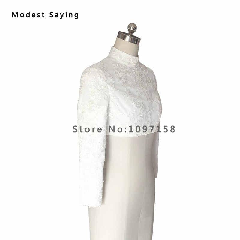 ... Real White Elegant High Neck Lace Muslim Bridal Boleros 2017 Button  Ivory Long Sleeves Wedding Jackets ... 5be4a3f940b2