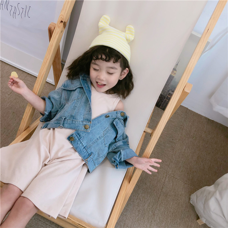 2019 Spring New Arrival Korean Style Clothing Sets Denim Jacket With Pure Color Dress Fashion Suit For Cute Sweet Baby Girls