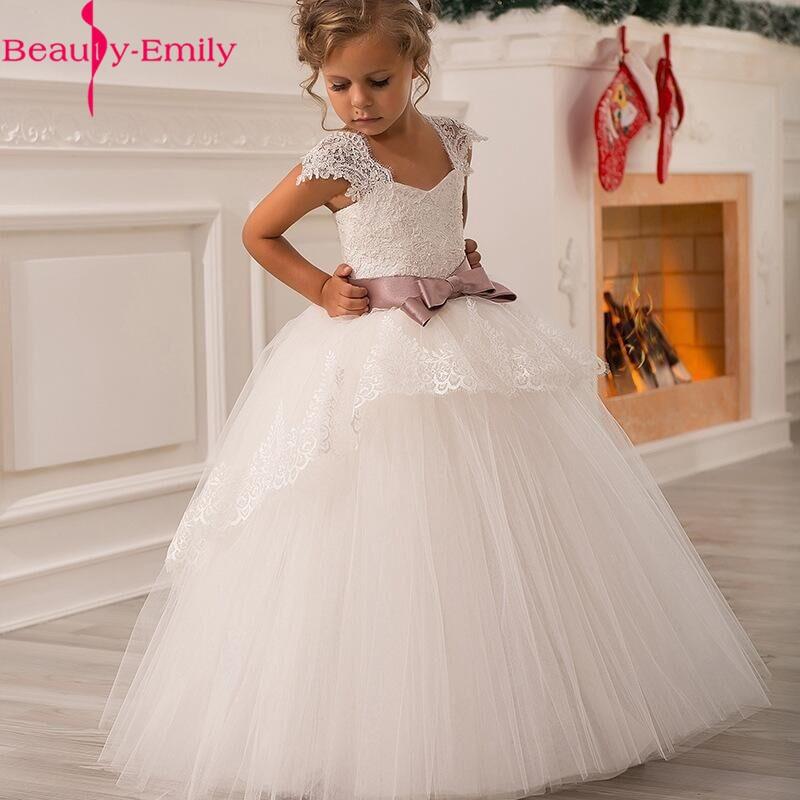 Long White V Neck Princess Ball Gown Flower Girl Dresses 2019 Soft Tulle Lace First Communion Dresses Girls Kids Prom Dress