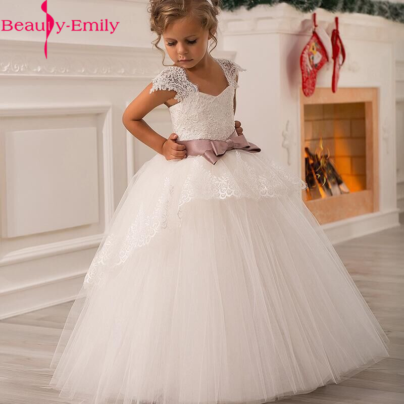 Long White V Neck Princess Ball Gown   Flower     Girl     Dresses   2019 Soft Tulle Lace First Communion   Dresses     Girls   Kids Prom   Dress