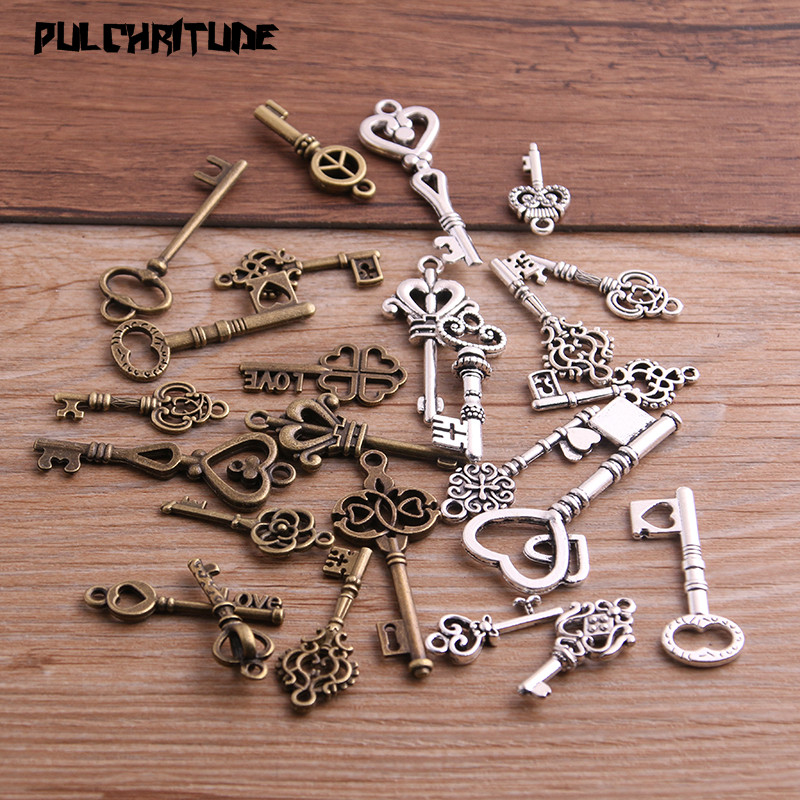 PULCHRITUDE 10pcs Vintage Metal Mixed Two color Small key Charms Pendants For Jewelry Making Diy Handmade Jewelry(China)