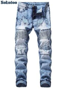 d78279c12a2 Sokotoo для мужчин снег мыть светло голубой рваные байкерские джинсы для  женщин мотоциклистов Slim fit прямые джинсовые штаны