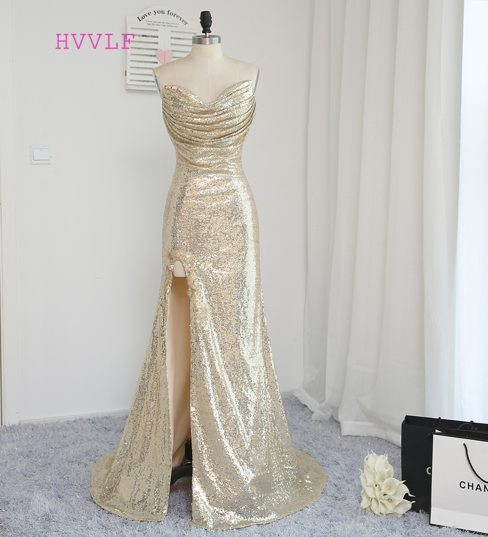 HVVLF 2019 Cheap   Bridesmaid     Dresses   Under 50 Mermaid Sweetheart Champagne Sequins Slit Backless Wedding Party   Dresses