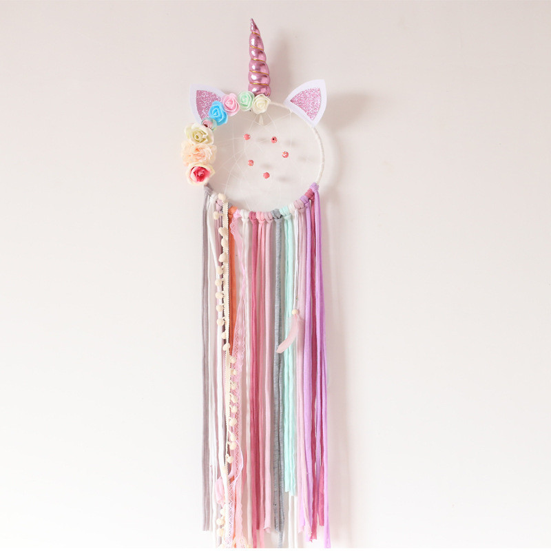Cute Unicorn Dream Catcher Handmade Catchers For Girls Kids Nurser Rainbow Home Decor Nursery Bedroom Kids Room Wall Accessory locket