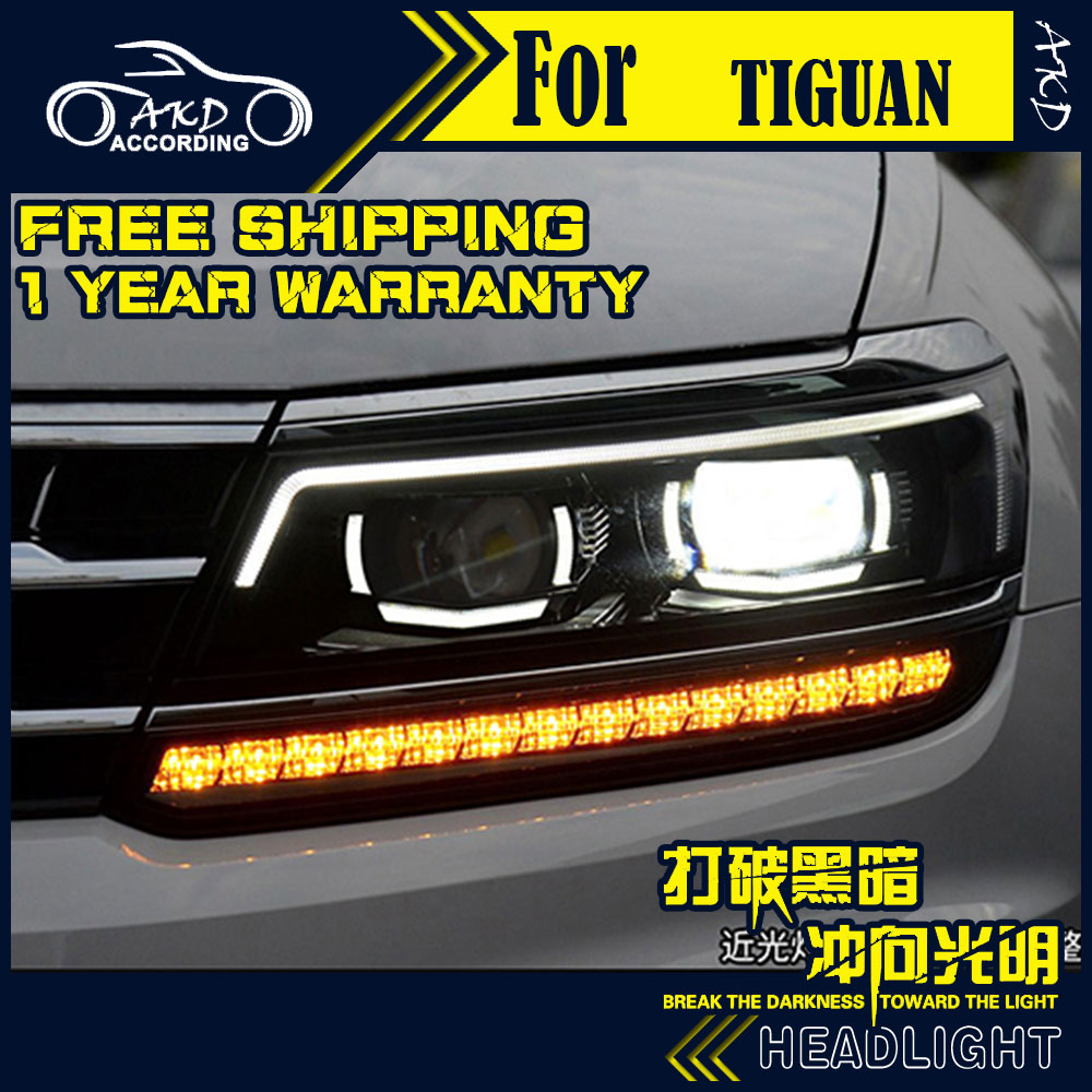 AKD Car Styling Headlight Assembly for VW Tiguan Headlights 2017New Tiguan Bi Xenon Headlight LED DRL HID Front Lamp Accessories car rear trunk security shield cargo cover for volkswagen vw tiguan 2016 2017 2018 high qualit black beige auto accessories