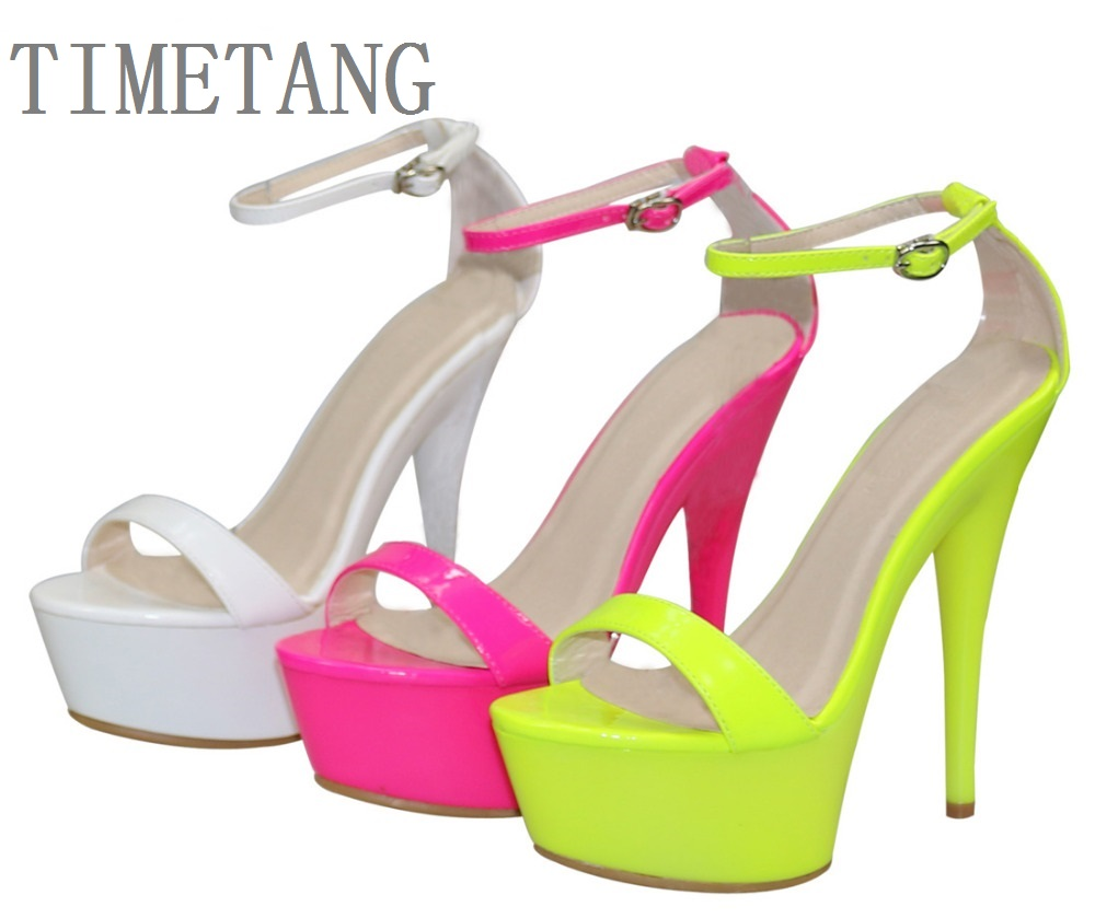 New arrived Free shipping <font><b>Women</b></font> Hot Neon color T-strappy <font><b>sandals</b></font> <font><b>sexy</b></font> 15CM ultra <font><b>High</b></font> <font><b>heel</b></font> <font><b>Pumps</b></font>/<font><b>Sexy</b></font> party/dancing <font><b>heels</b></font> image