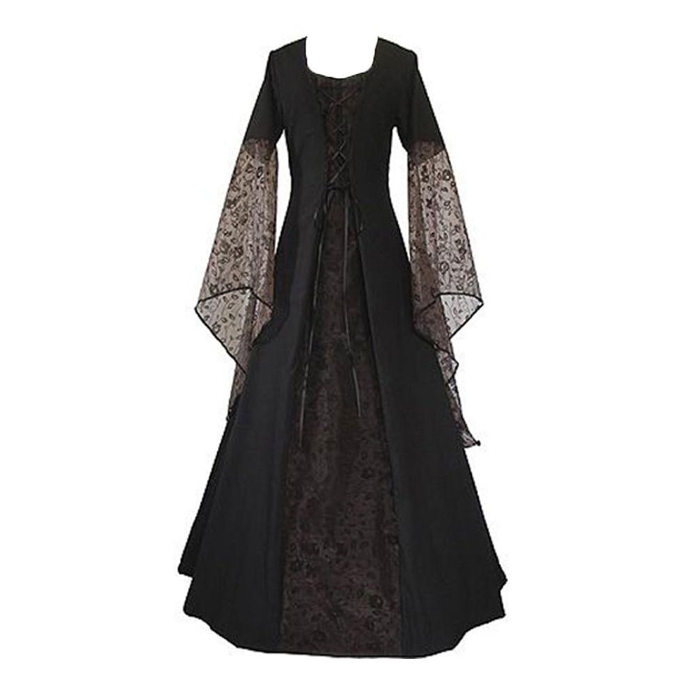 Gothic Lace Big Swing Maxi Dress Women 2018 New Fall Patchwork Bandage Flare Sleeve Lady Elegant Princess Prom Sexy Long Dresses