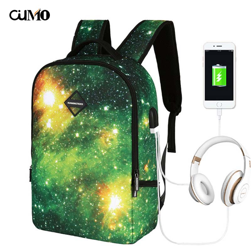 Ou Mo brand Multi function headset charging business trip travel High capacity feminina backpack Youth Schoolbag Women Bag man in Backpacks from Luggage Bags