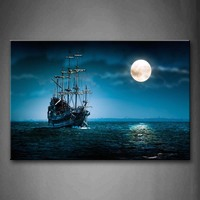 Framed Wall Art Pictures Boat Seascape Moon Sky Canvas Print Car Posters With Wooden Frames For Home Living Room Decor
