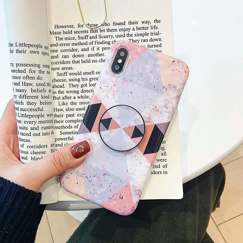 Geometric Marble Pattern Kickstand Phone Case For iPhone XS Max XR X 6 6S 7 8 Plus Fashion IMD Soft Protective Back Cover Coque (8)