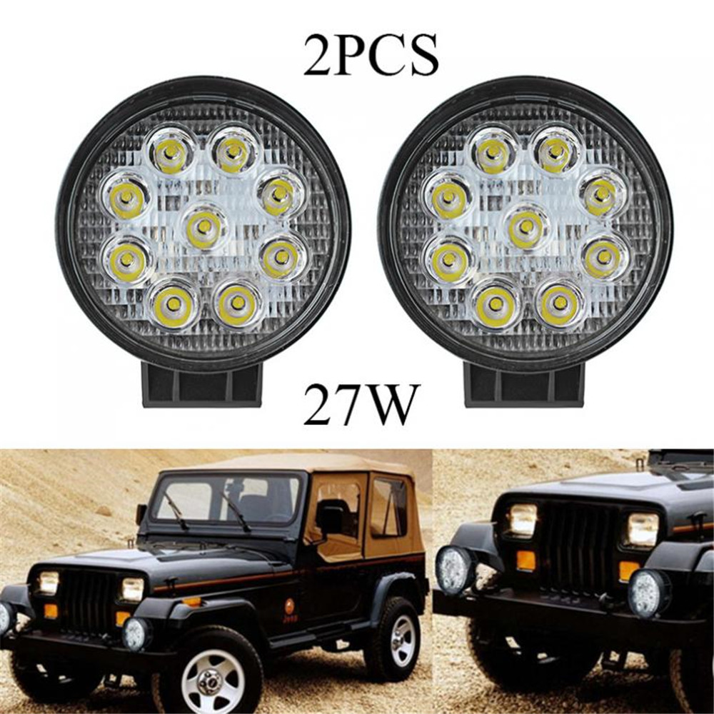 Hot 1 pair 27w led work light round flood spot lamp atv suv off
